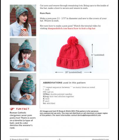 big hat knitting pattern