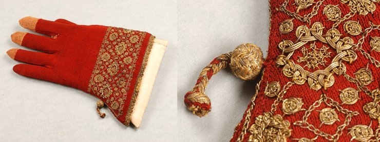 Medieval silk gloves