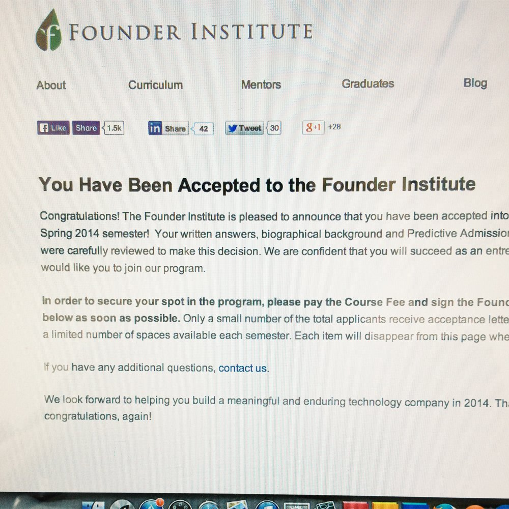 founder institute acceptance