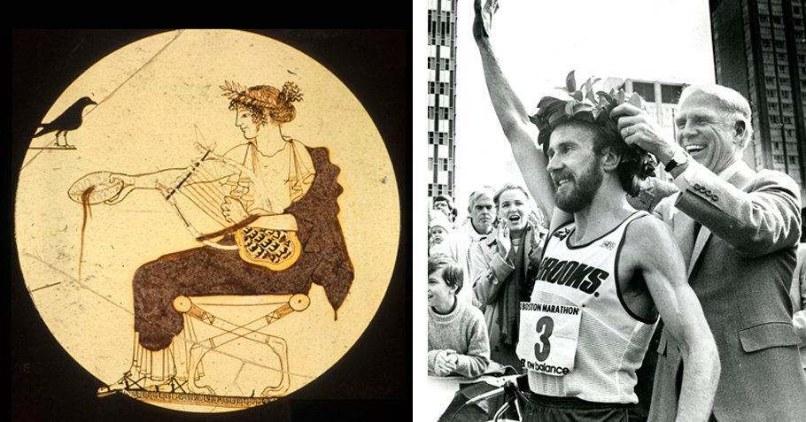 L: Apollo wearing a laurel wreath, Archaeological Museum of Delphi. R: Boston Marathon winner Greg Meyer is crowned with a laurel wreath, 1983.