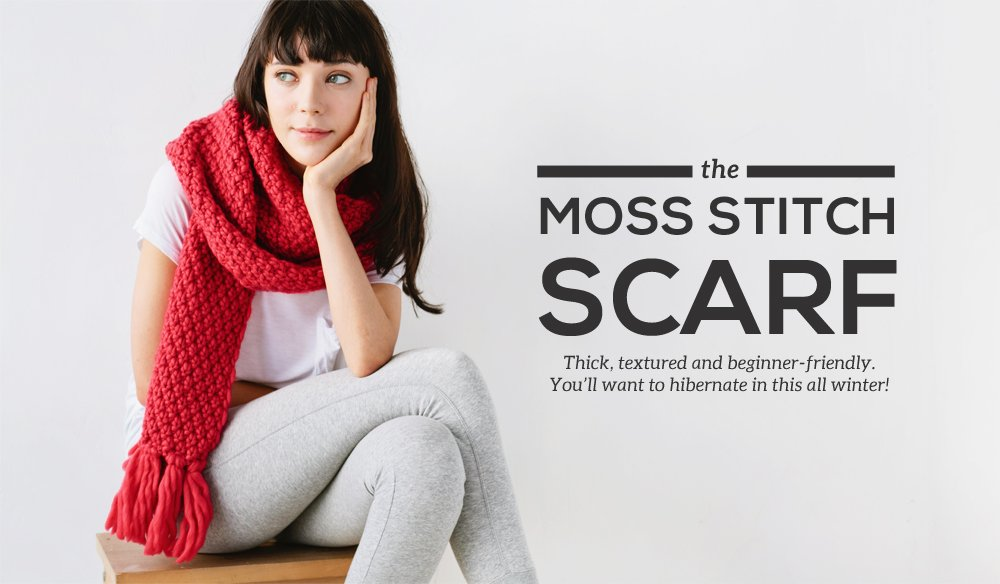 Moss Stitch Scarf Knitting Pattern Tutorial
