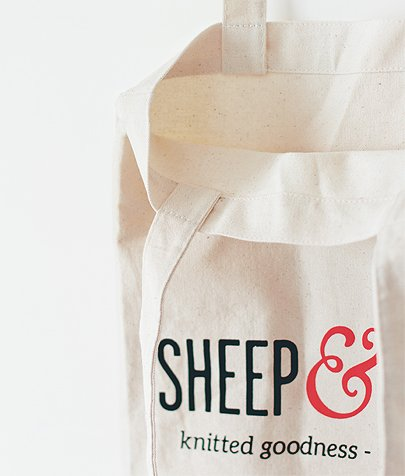 Sheep & Stitch Canvas Tote Bag