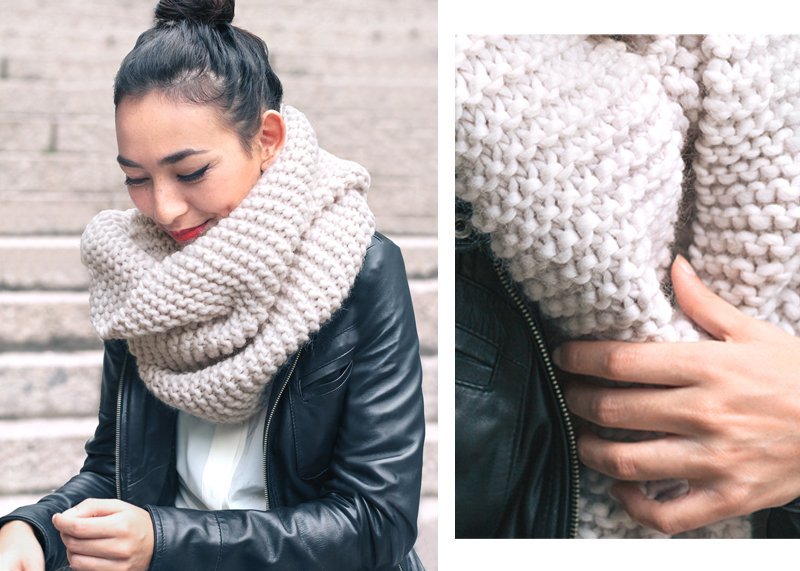 Make this Easy, Free Scarf Knitting Pattern for a Versatile, Stylish chunky Scarf. This is a great knitting project for beginners! Knitted scarves are such a versatile and practical accessory.