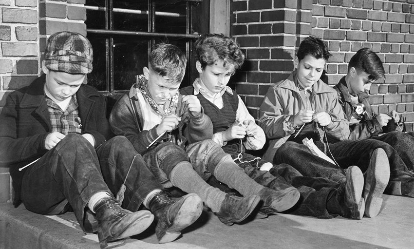 boys knitting together