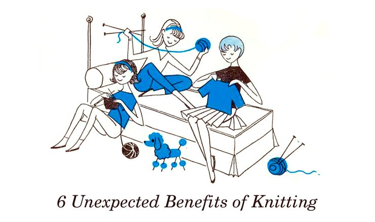 three girls knitting together on a bed illustration