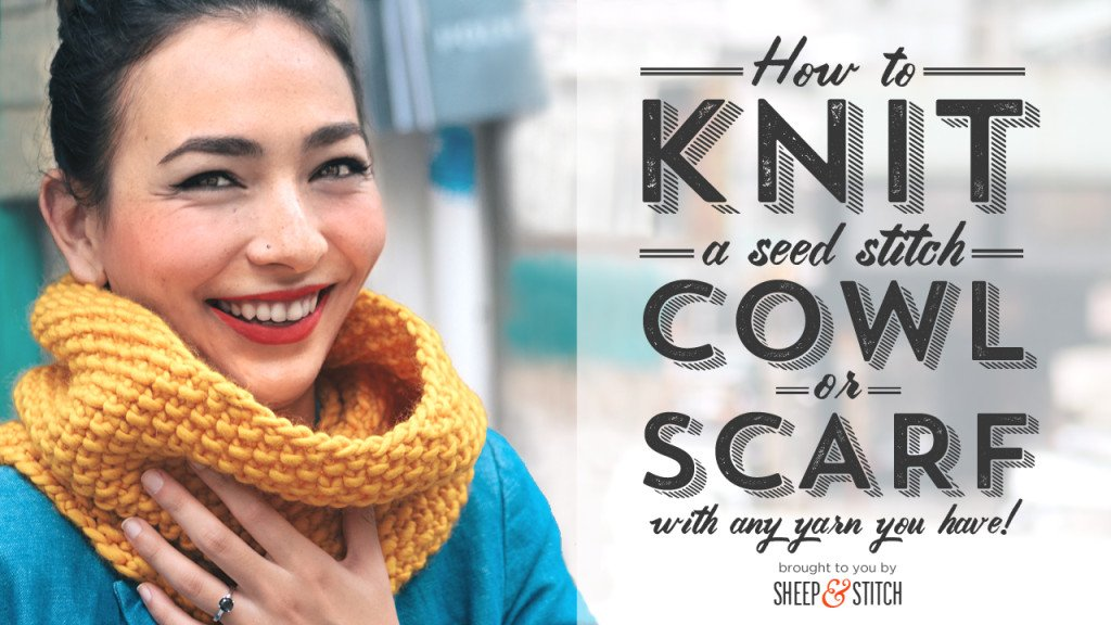 Seed Stitch Cowl and Scarf Knitting Pattern