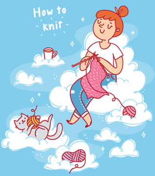 girl knitting with cat illustration