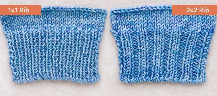rib knitting 1x1 and 2x2 rib