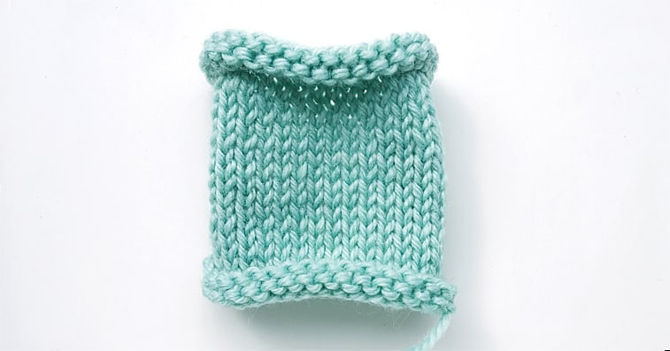 stockinette stitch knitting curling from all sides
