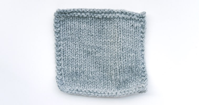 stockinette stitch knitting swatch