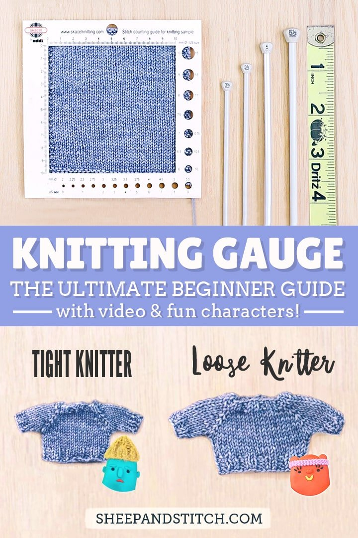knitted swatch, ruler and gauge