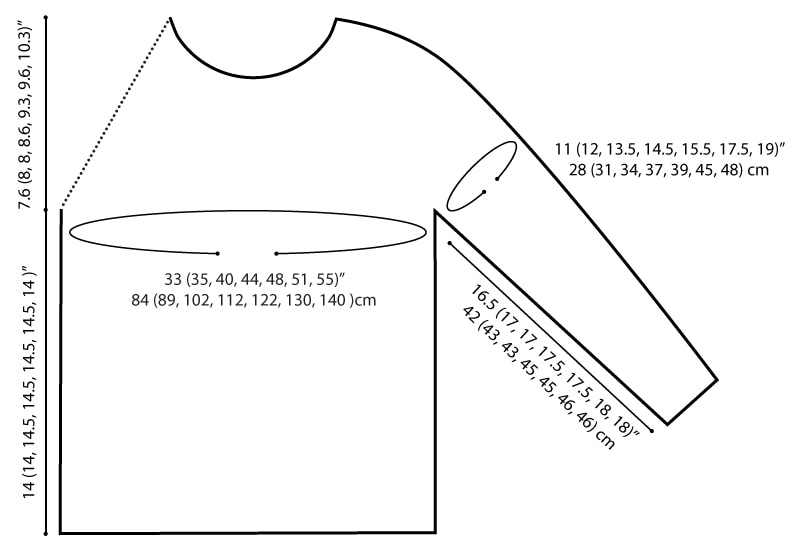 everyday raglan sizing finished measurements