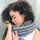 woman wearing grey infinity scarf