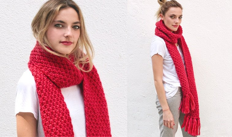 moss stitch scarf knitting pattern