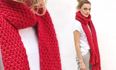 beginner moss stitch chunky scarf