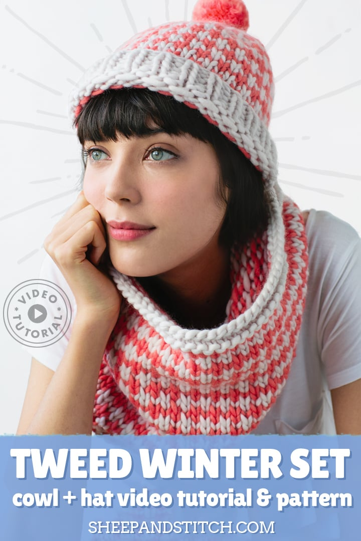 tweed winter set hat and cowl knitting pattern with tutorial video