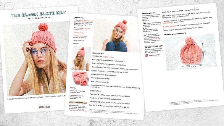 free knitting pattern knit hat