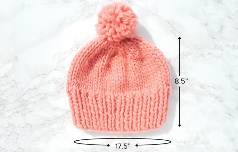 how to knit a hat finished measurements