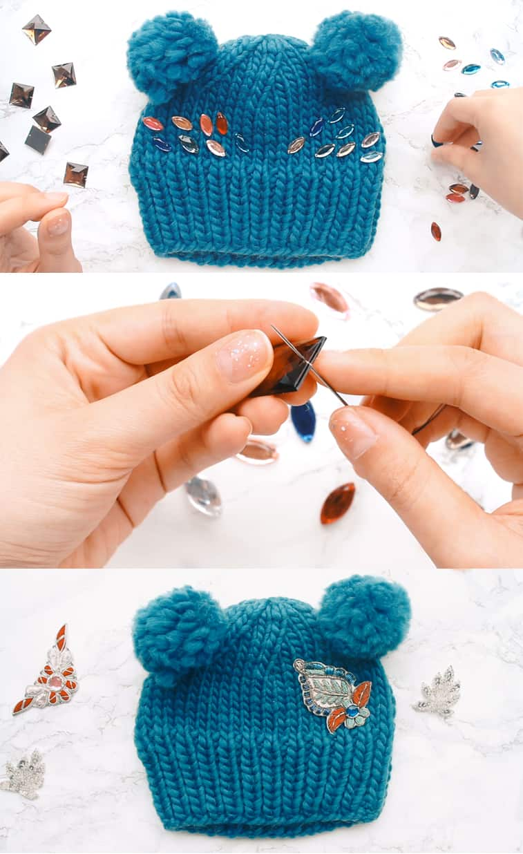 how to decorate knit hat with jewels and appliques