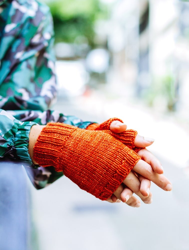 orange fingerless gloves