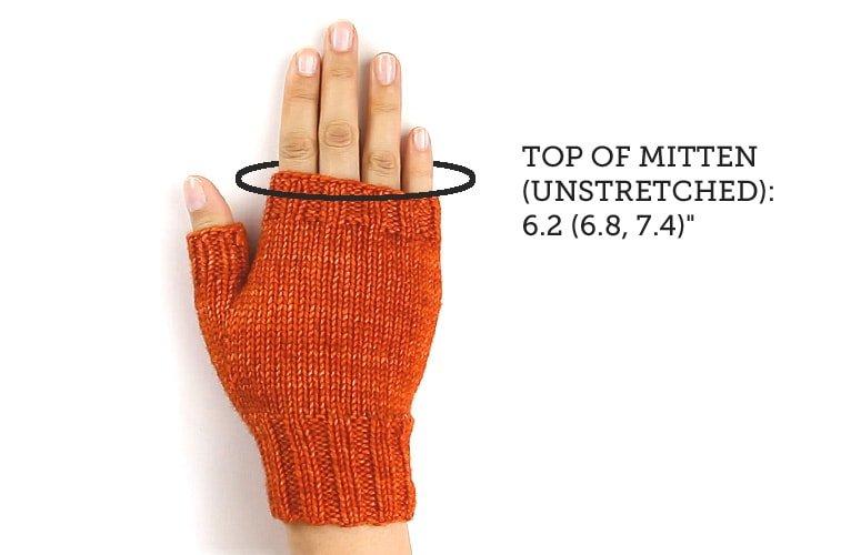 hand wearing orange fingerless glove