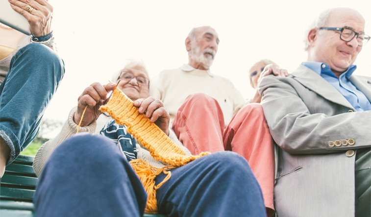 seniors together outdoors