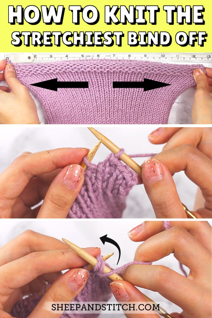 how to knit a stretchy bind off pinterest image