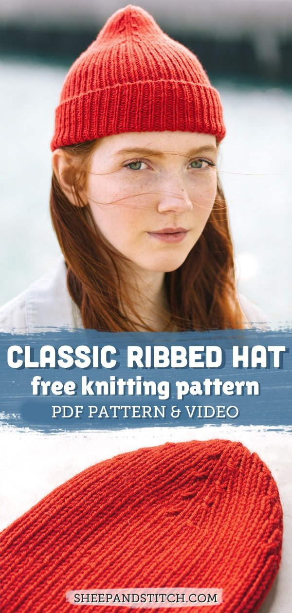 rib hat knitting pattern pinterest