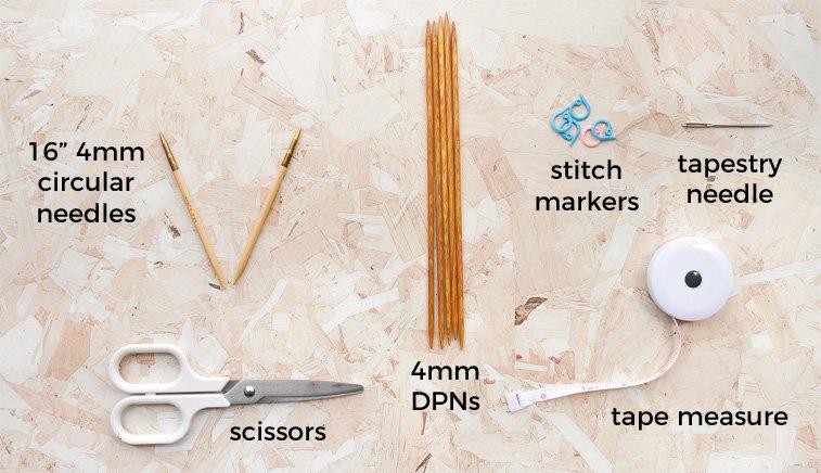 rib hat knitting materials