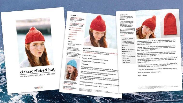 rib hat knitting pattern