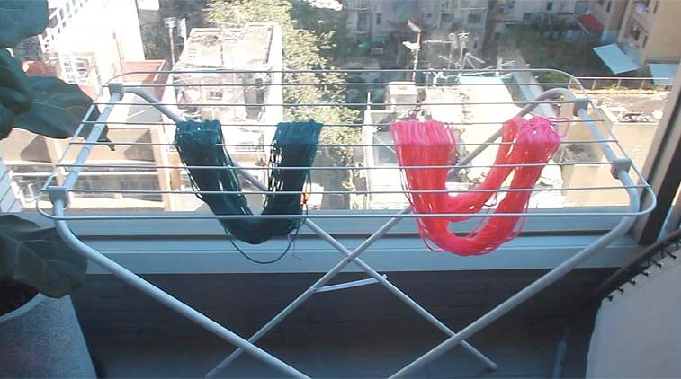 yarn hanging on rack