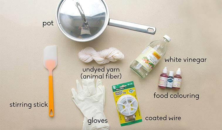 supplies for dyeing yarn with food coloring
