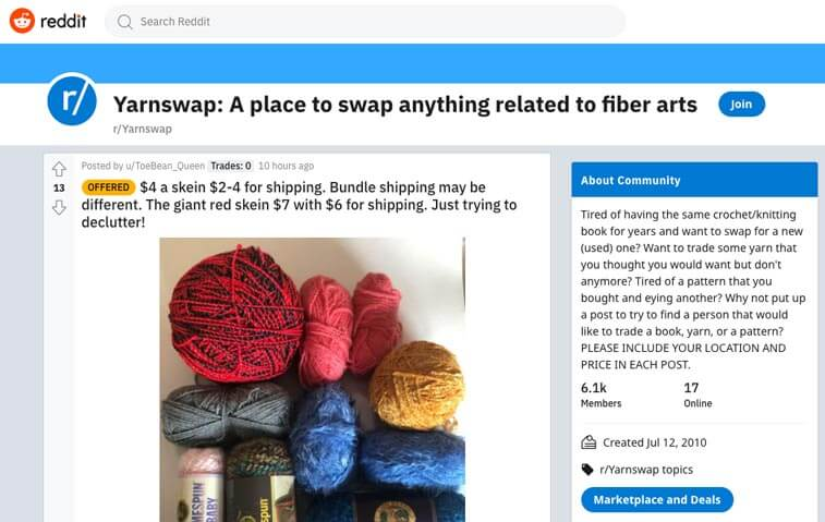 reddit yarnswap to exchange yarns at a discount